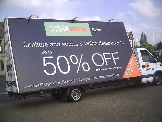 Mobile Billboard promoting M&S Newcastle