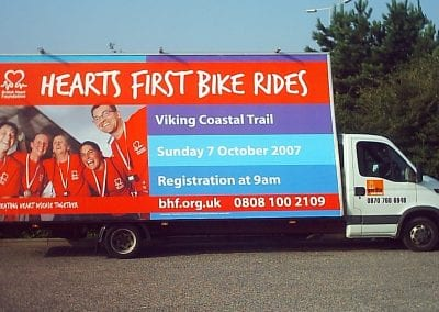 Poster Truck in York promoting British Heart Foundation Viking Coastal Trail