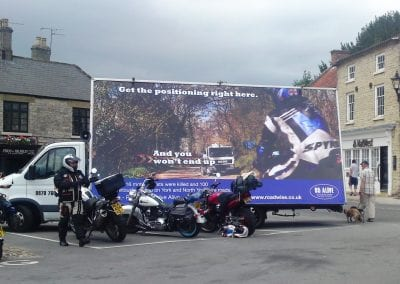 Mobile Advertising Truck 95 Alive North Yorkshire promoting motorbike safety in North Yorkshire
