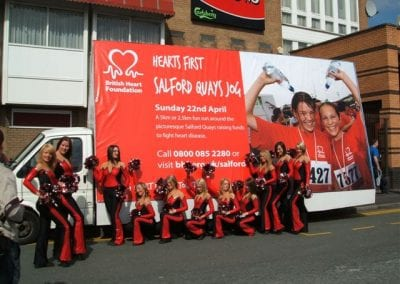 Poster Van British Heart Foundation Salford with Promotional Staff