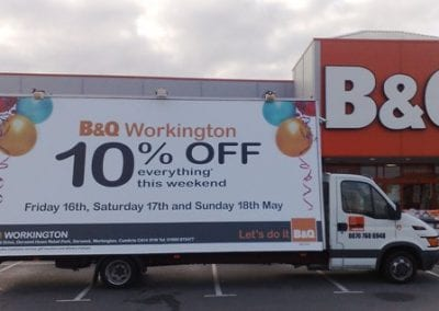 Advertising Van featuring B&Q Workington. Cumbria