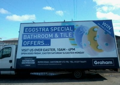 Advertising Van promoting Graham Plumbers Merchants Easter Event in Canterbury, UK