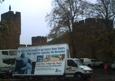 Poster Van promoting Dobsons Home Builder in Alnwick