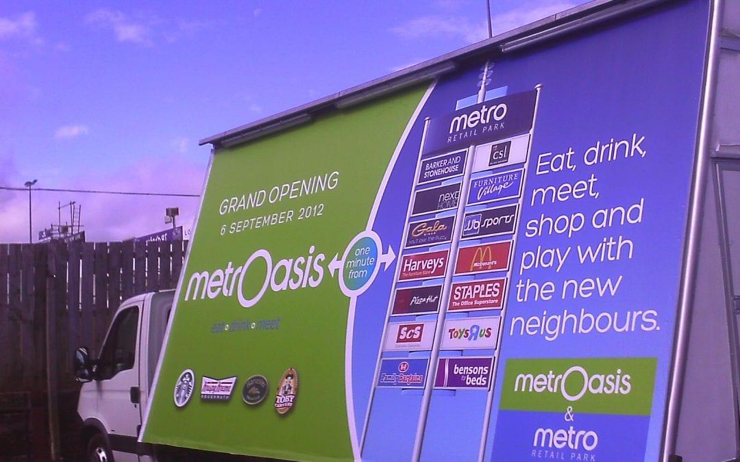 Mobile Billboard advertising MetrOiasis at MetroCentre, Gateshead