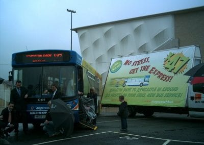 Poster van for Stagecoach PR launch promoting new bus route