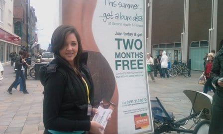 AdBike with promotional staff leafleting for Greens Fitness Newcastle