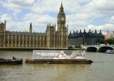AdBoat for Christian Aid River Thames London