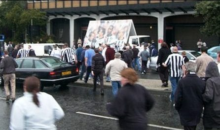 Advan Match Day promotiong Metro Radio outside St James Park, Newcastle