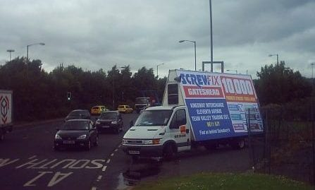 Advan advertising Screwfix Store in Gateshead