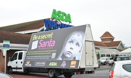 AdVan promoting Secret Santa in South Shields