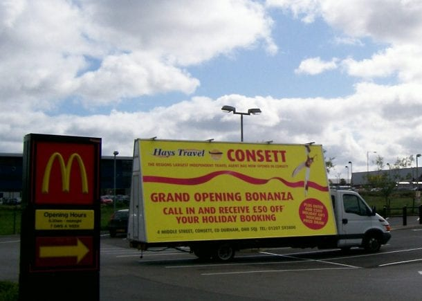 Advertising Van publicising Hays Travel store opening Consett, County Durham