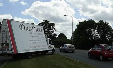 Advertising Vehicle promoting Due Dieci Restaurant Newcastle
