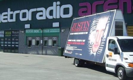 Advertising Vehicle Justin Timberlake Newcastle upon Tyne