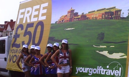 Mobile Advertising Van with promotional staff promotion Your Golf Travel in Blackpool
