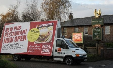 Mobile Billboard promoting new Punch Taverns pub restaurant in Bournemouth