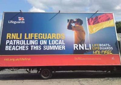 Mobile Billboard publicising RNLI in Scarborough